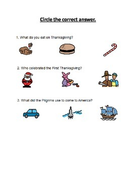 Thanksgiving and Christmas Wh questions and Categorization