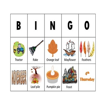 Pre-K and Kindergarten Thanksgiving and Fall Picture Bingo