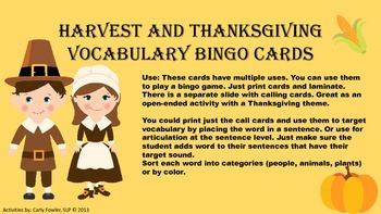 Thanksgiving and Harvest Vocabulary Bingo (Freebie)
