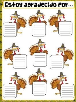 Thanksgiving classroom poster- Spanish