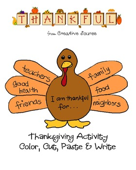 Thanksgiving color, cut and paste activity