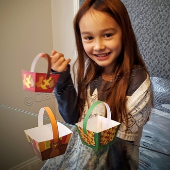 Thanksgiving crafts treat/crayon baskets FREE coloring pag
