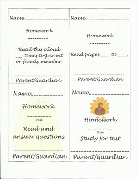 Thanksgiving homework tags with parent signature