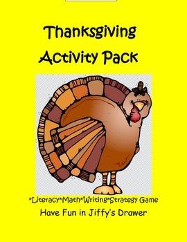 Thanksgiving literacy, writing, math activities on printab