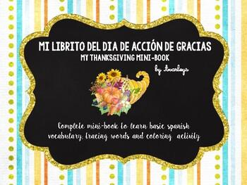 Thanksgiving mini book - Spanish Dia de Accion de Gracias