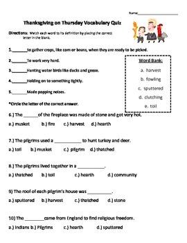 Thanksgiving on Thursday Vocabulary Quiz