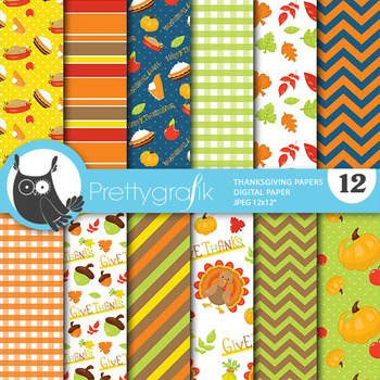 Thanksgiving papers, commercial use, scrapbook papers - PS814