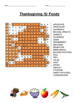 "Thanksgiving ""s"" Food Word Search"
