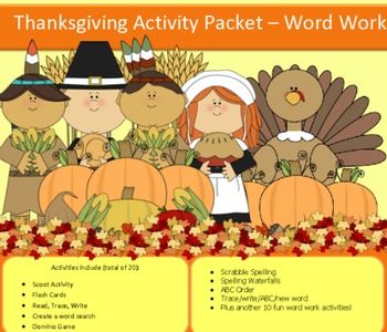 Thanksgiving spelling packet with 10 words...37 pages, NO PREP!