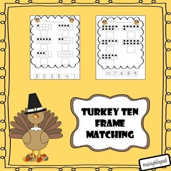 Thanksgiving ten frame matching (1-10) worksheet