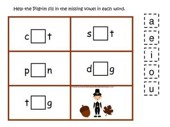 Thanksgiving themed CVC #3 preschool homeschool vowel acti