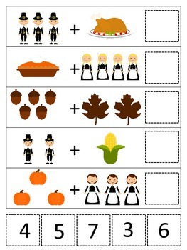 Thanksgiving themed Math Addition preschool printable game