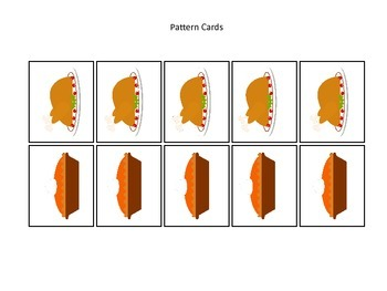Thanksgiving themed Pattern Cards #3 preschool printable a