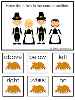 Thanksgiving themed Positional Game.  Printable Preschool