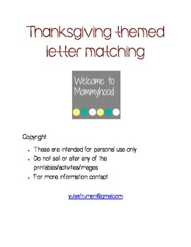 Thanksgiving themed capital letter matching and spelling w