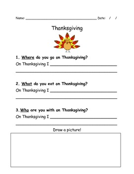 Thanksgiving writing- answering WH questions