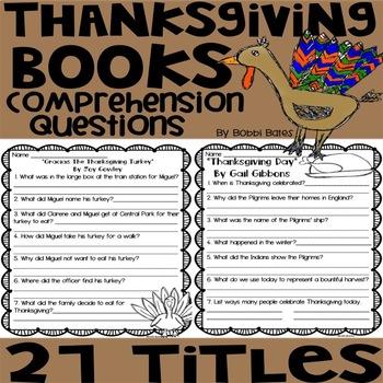 Thanksgiving/Pilgrim Books Comprehension Questions