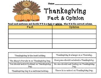 Thansgiving - Fact & Opinion
