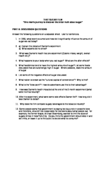 """video worksheet: """"That Sugar Film"""" Documentary (with Answers)"""
