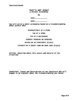 That's Not Right: A Percent Change Screenplay