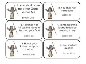 The 10 Commandments Printable Flashcards. Preschool-Kinder