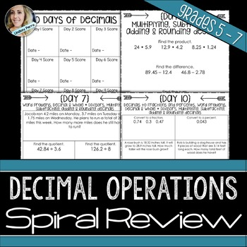 Decimal Operations Spiral Review Activity
