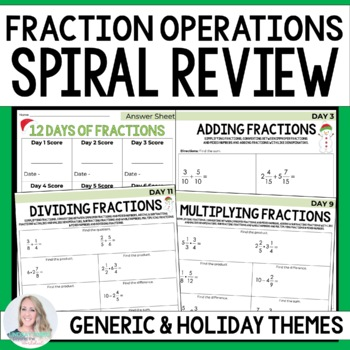 Fraction Operations Spiral Review Activity
