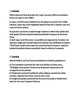 Age of Exploration Final Exam, Respondus Format (World Civ