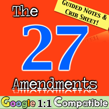 The 27 Amendments!  Guided Notes and Crib Sheet to Cover All 27!