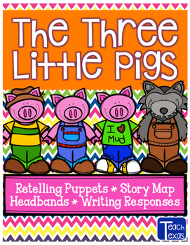 The 3 Little Pigs - Retelling Puppets - Story Map - Headba