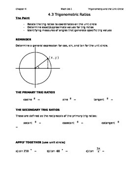 4.3 The 6 trig ratios as class notes (Editable)