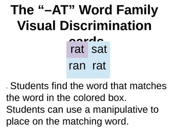 """The '-AT"""" Family Visual discrimination Cards"""