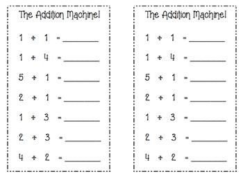 Math Center Worksheet (The Addition Machine)