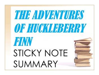 The Adventures of Huckleberry Finn Sticky Notes Summary Activity