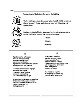 The Adventures of Huckleberry Finn and the Tao Te Ching