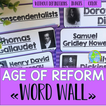 Reform, Suffrage, and Abolition Word Wall without definitions