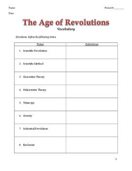 World History Age of Revolution Vocabulary