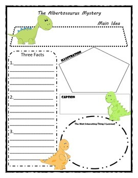 The Albertosaurus Mystery Story Map Graphic Organizer
