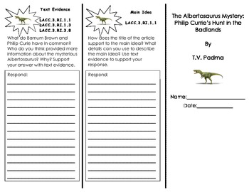 The Albertosaurus Mystery Trifold/ 3rd Grade Journeys HMH/