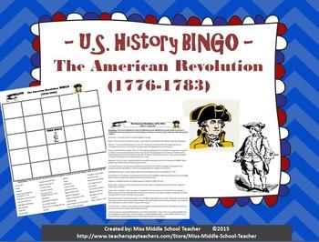 The American Revolution BINGO (1776-1783) Revolutionary War
