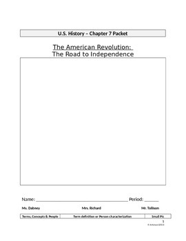 The American Revolution (Interactive Notebook Packet)