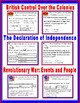 The American Revolution Task Cards, Cloze Notes Study Guid