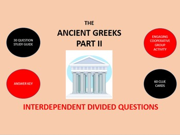 The Ancient Greeks Part 2:  Divided Questions Activity