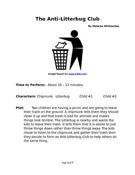 The Anti-Litterbug Club Small Group Reader's Theater