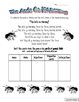 The Ants Go MARCHing Activity Packet