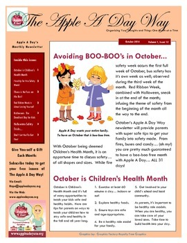 The Apple A Day Way for October:  Avoiding Boo-Boo's in October