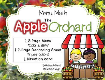 The Apple Orchard - Menu Math ~*Low Prep Math Center*~