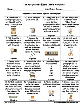 The Art Lesson ~ Extra Credit Language Arts Activities