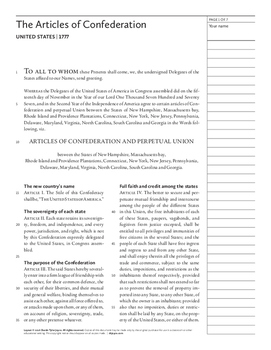 The Articles of Confederation (United States, 1777)