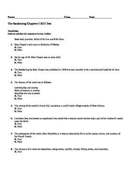 The Awakening Chapter I-XIII Test